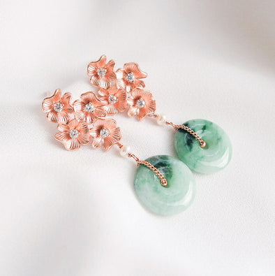 Unique Jade with Four Flower Ear Studs Ear Studs PJ6R