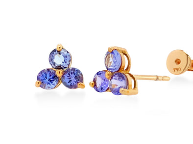 Tanzanite Trio Ear Studs in 18K Rose Gold