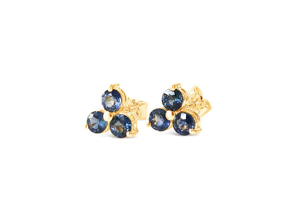 Past Present Future Sapphire Ear Studs in 18K Yellow Gold