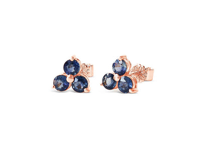 Past Present Future Sapphire Ear Studs in 18K Rose Gold