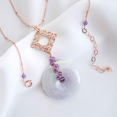 Lavender Jade Necklace with Peranakan Tile and Amethyst Vine