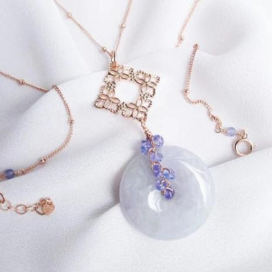 Lavender Jade Necklace with Peranakan Tile and Tanzanite Vine