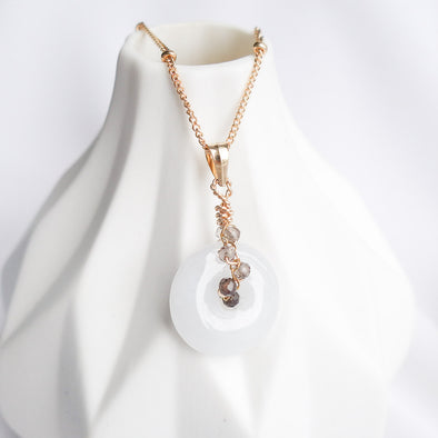Petite White Jade with Smoky Quartz Vine Necklace