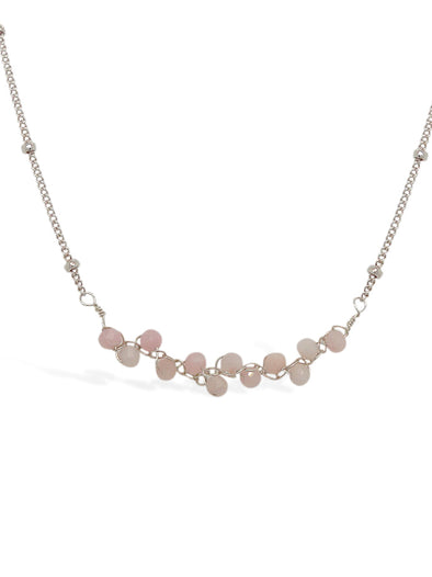 Pink Opal Vine Bar Necklace - Ball Chain