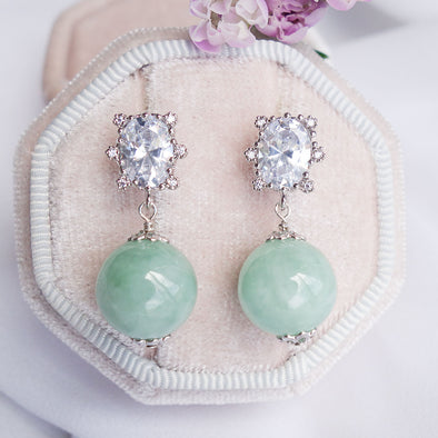 Princess Halo Earrings with Green Jade