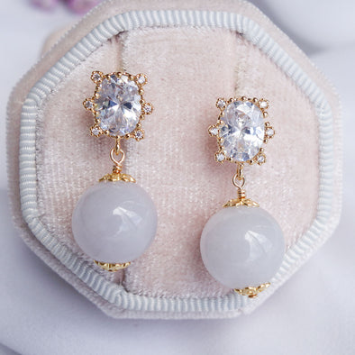 Princess Halo Earrings with Lavender Jade