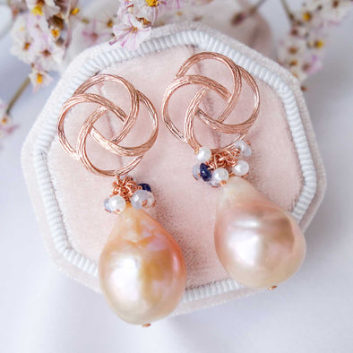Baroque Pearls with Pinwheel Ear Studs and Gem Cluster - RG35