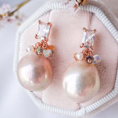 Baroque Pearls with Baguette Ear Studs and Gem Cluster - RG38