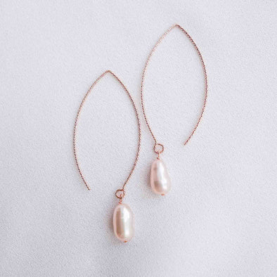 Sleek Leaf Ear Hooks with Baroque Pearls - RG48