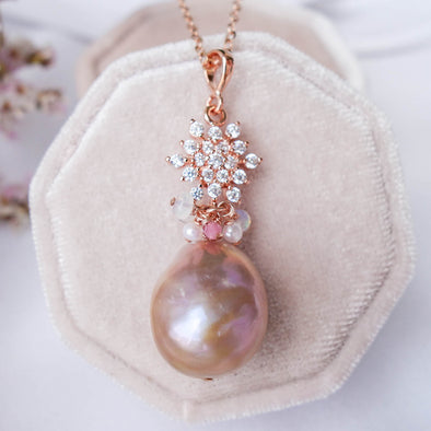 Baroque Pearl Necklace with Snow Pendant and Gem Cluster - RG52