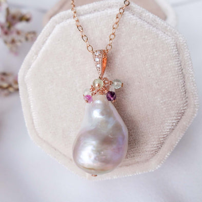 Baroque Pearl Necklace with Gem Cluster - RG53
