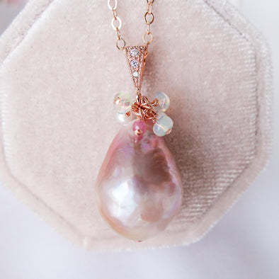 Baroque Pearl Necklace with Gem Cluster - RG57