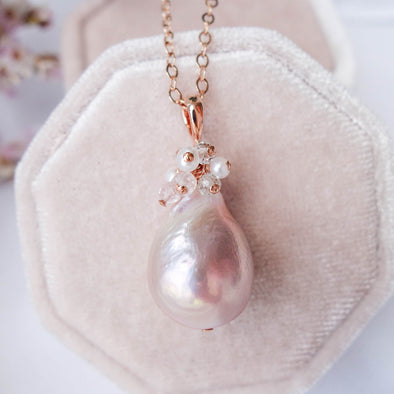 Baroque Pearl Necklace with Gem Cluster - RG64