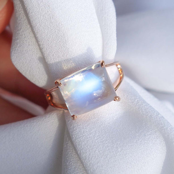 Rectangle Moonstone Cabochon Ring - 14K Rose Gold RMCR3R38