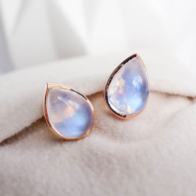Teardrop Moonstone Ear Studs - 18K Rose Gold RMES3R45