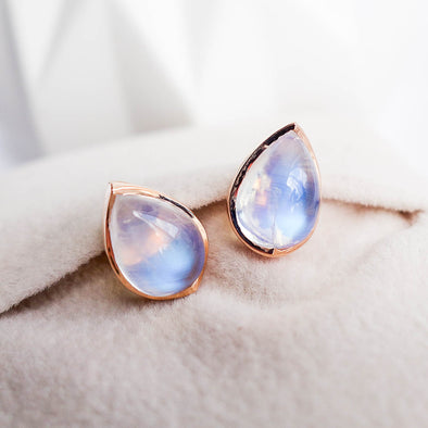 Teardrop Moonstone Ear Studs - 18K Rose Gold RMES3R46
