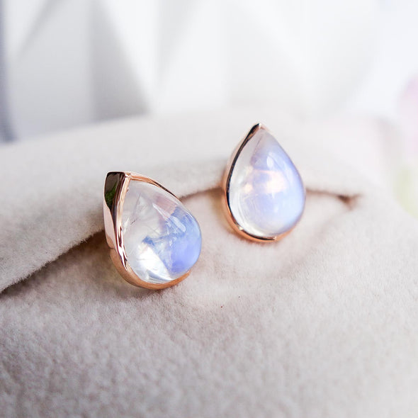 Teardrop Moonstone Ear Studs - 18K Rose Gold RMES3R48