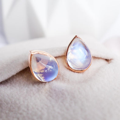 Teardrop Moonstone Ear Studs - 18K Rose Gold RMES3R49