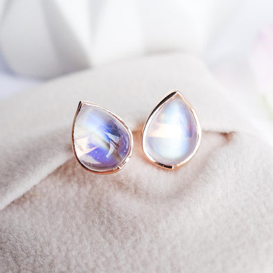 Teardrop Moonstone Ear Studs - 18K Rose Gold RMES3R50