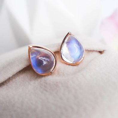 Teardrop Moonstone Ear Studs - 18K Rose Gold RMES3R52