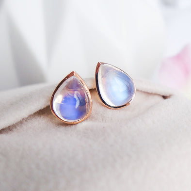 Teardrop Moonstone Ear Studs - 18K Rose Gold RMES3R53