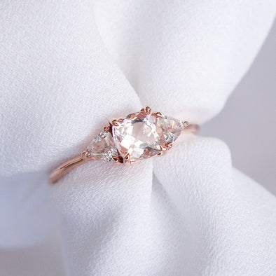 Royal Morganite Ring with Sapphire in 14K Rose Gold - RMR3R95