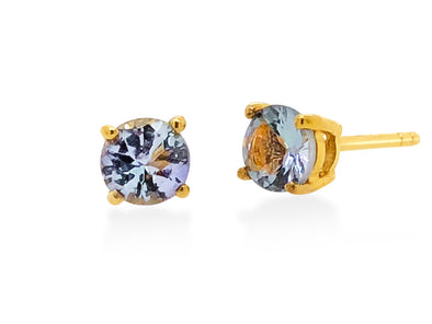 Tanzanite Ear Studs in 18K Yellow Gold RSES4Y1
