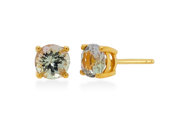 Tanzanite Ear Studs in 18K Yellow Gold RSES4Y4