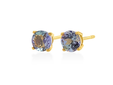 Tanzanite Ear Studs in 18K Yellow Gold RSES4Y5