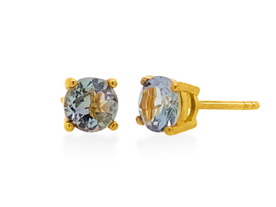 Tanzanite Ear Studs in 18K Yellow Gold RSES4Y6