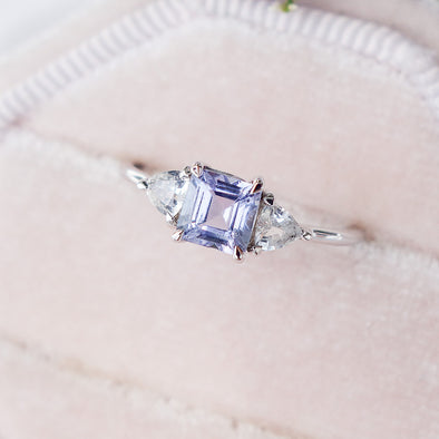 Royal Tanzanite Ring with Sapphire in 14K White Gold - RTR3W97