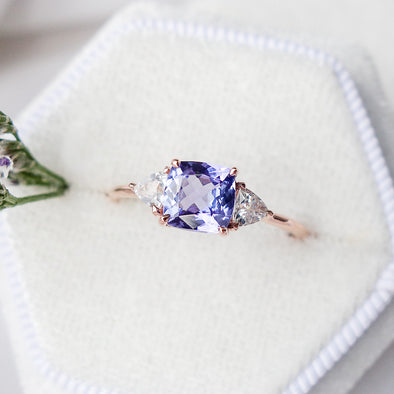 Royal Tanzanite Ring with Sapphire in 14K Rose Gold - RTR4R15