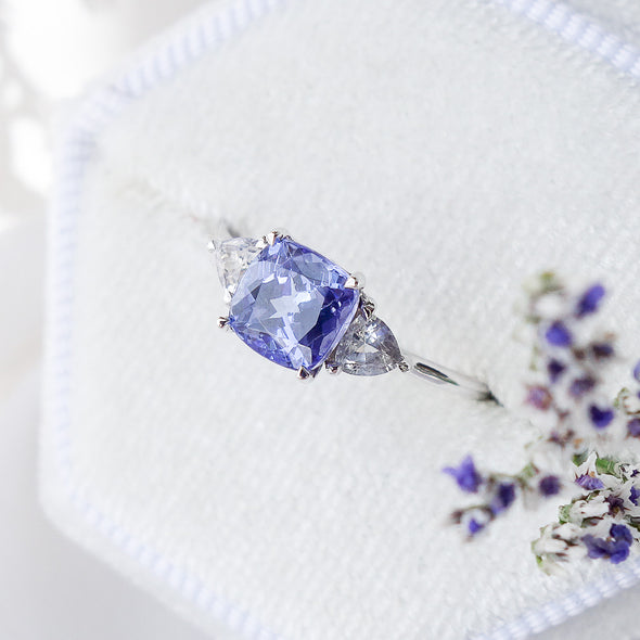 Royal Tanzanite Ring with Sapphire in 14K White Gold - RTR4W18