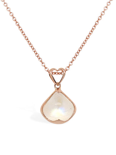 Rainbow Moonstone Pendant in 14K Rose Gold