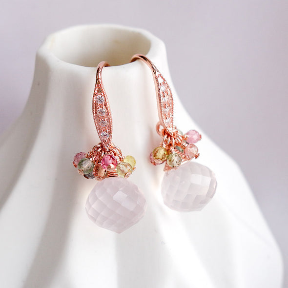 Rose Quartz with Tourmaline Cluster Hook Earrings