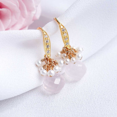 Rose Quartz with Pearl Cluster Hook Earrings