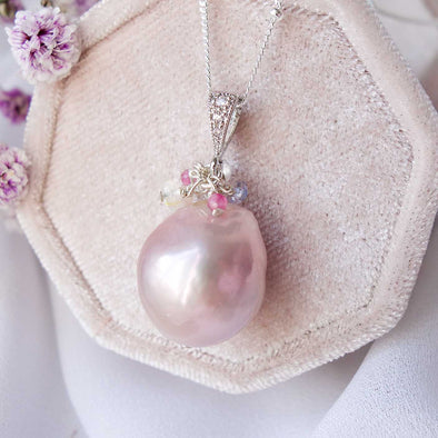 Baroque Pearl Necklace with Gem Cluster - S13