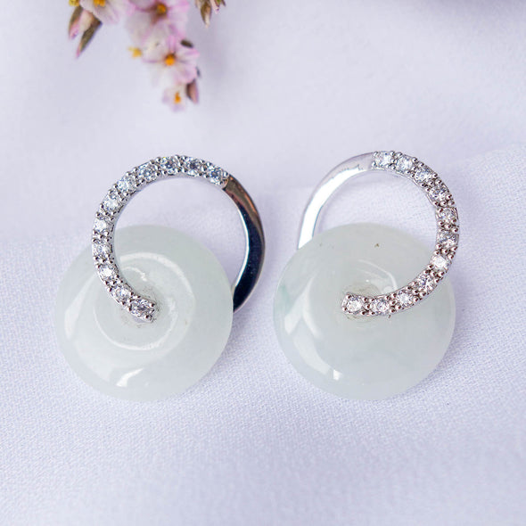 Cross Loop Jade Ear Studs S3