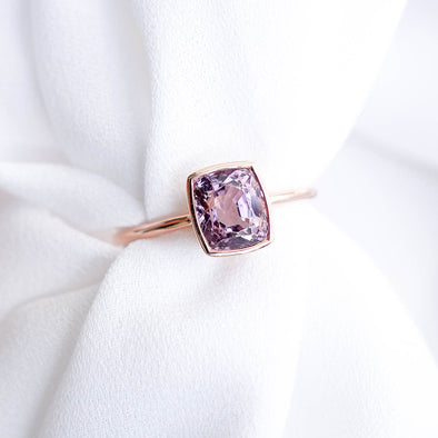Spinel Bezel Solitaire Ring in 14K Rose Gold - SSR3R69