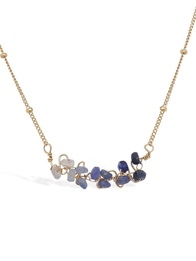 Sapphire Vine Bar Necklace - Ball Chain
