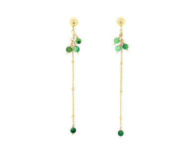 Sleek African Jade Swinging Earrings - 14K Gold Filled
