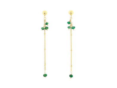 Sleek Emerald Swinging Earrings - 14K Gold Filled