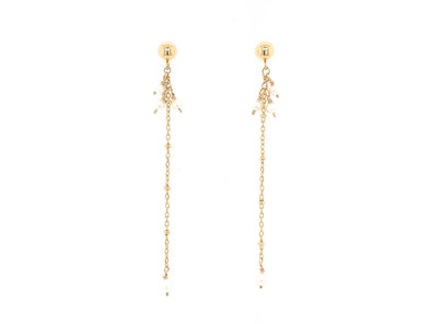 Sleek Pearl Swinging Earrings - 14K Gold Filled