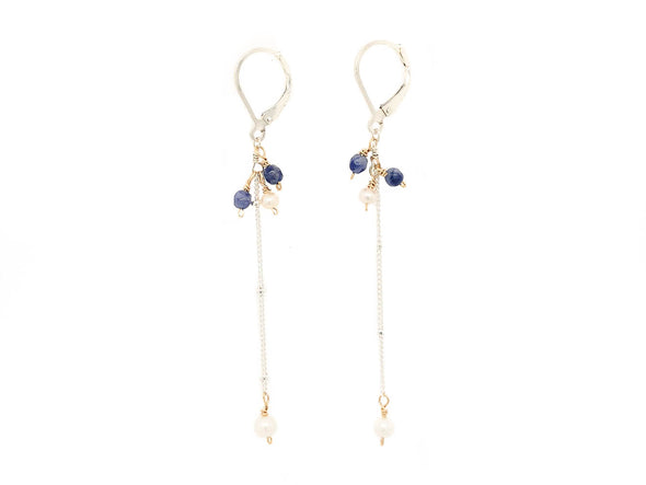 Sleek Pearl and Sodalite Swinging Earrings