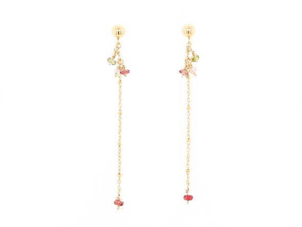 Sleek Tourmaline Swinging Earrings - 14K Gold Filled