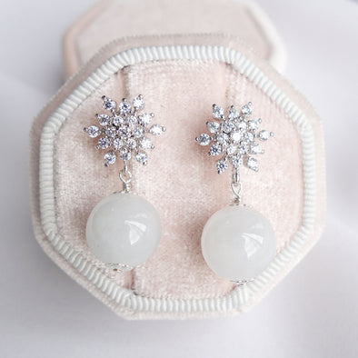 Snow Ear Studs with Snow Jade