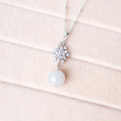 Lavender Jade with Snow Pendant Necklace
