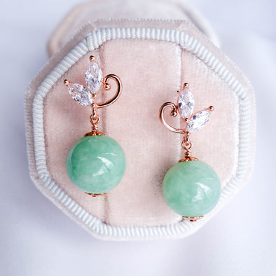 Swirling Leaves Earrings with Green Jade