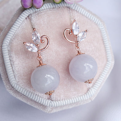 Swirling Leaves Earrings with Lavender Jade