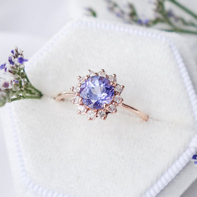 Tanzanite Halo Ring with Sapphire in 14K Rose Gold - THR4R23